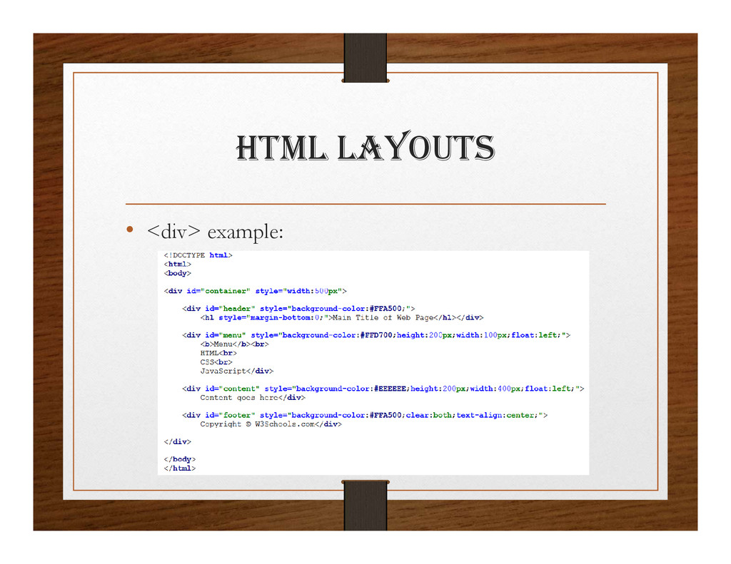 html layOUtS • <div> example: