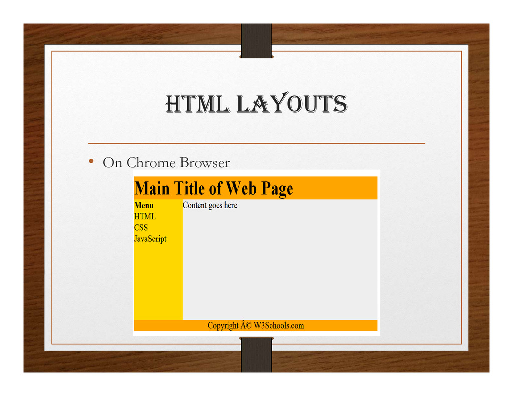 html layOUtS • On Chrome Browser