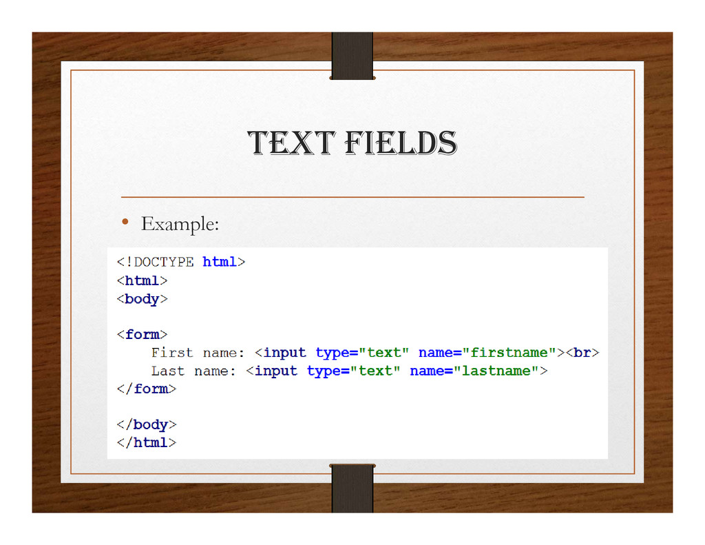 tExt FIElDS • Example: