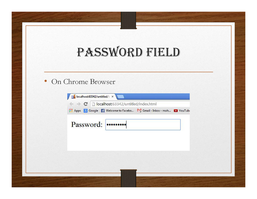paSSwORD FIElD • On Chrome Browser