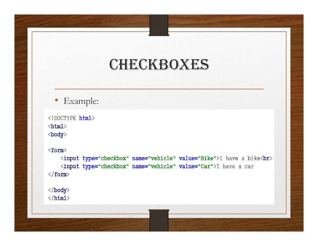 chEcKBOxES • Example: