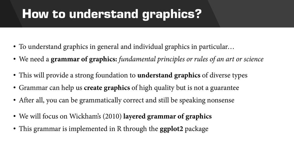 How to understand graphics? • To understand gra...