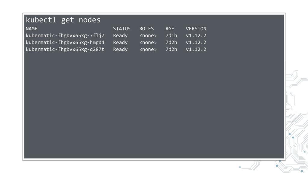 kubectl get nodes NAME STATUS ROLES AGE VERSION...