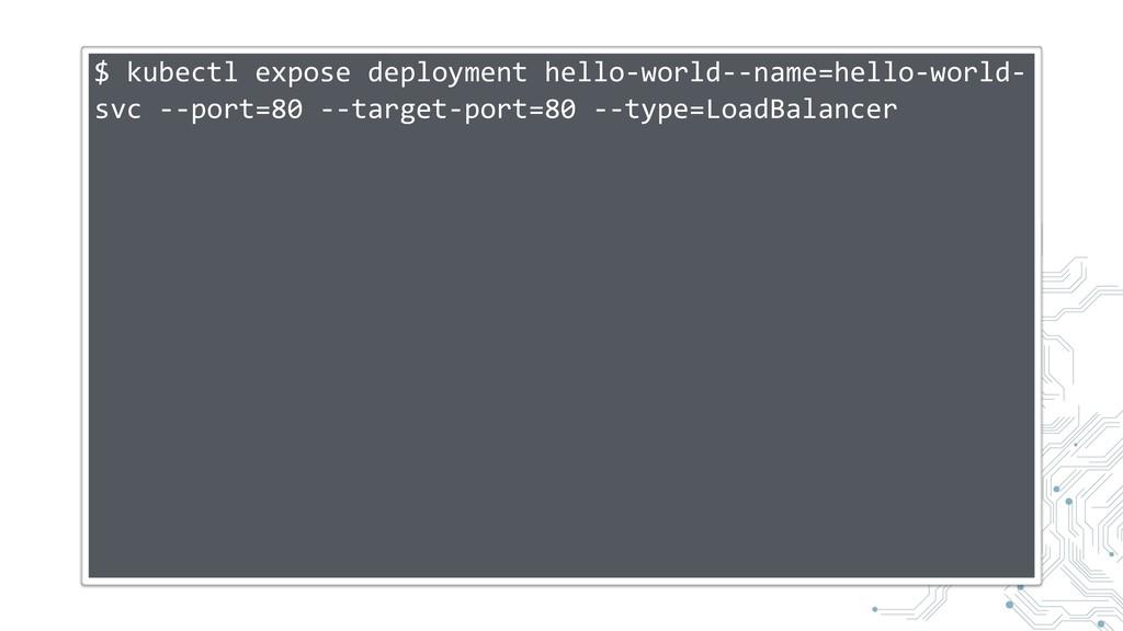 $ kubectl expose deployment hello-world--name=h...