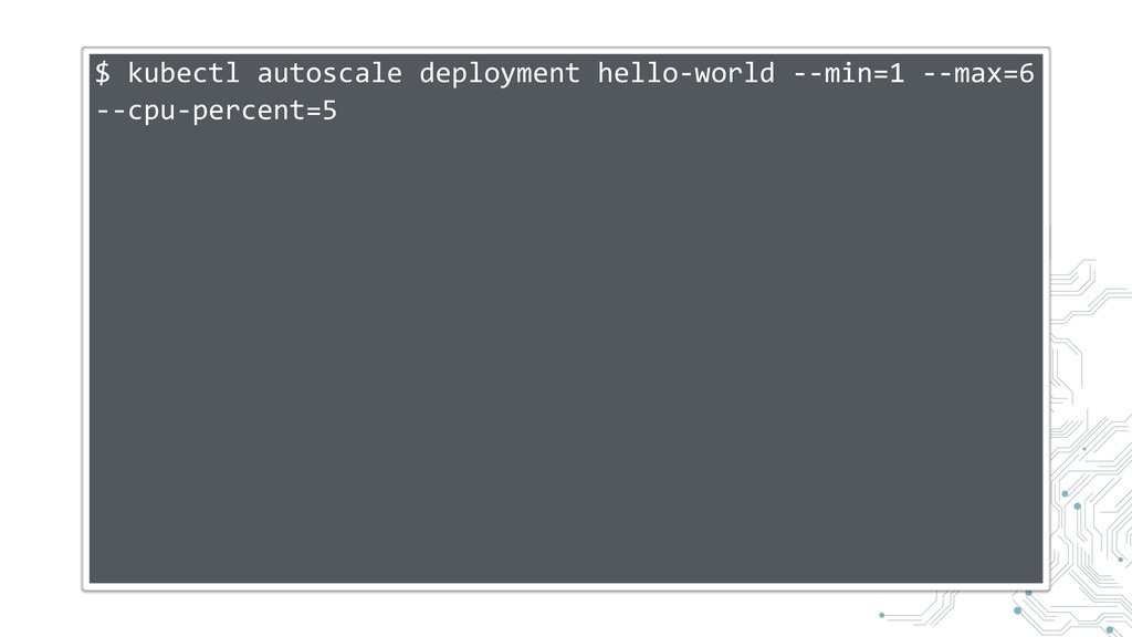 $ kubectl autoscale deployment hello-world --mi...
