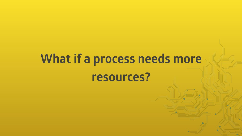What if a process needs more resources?