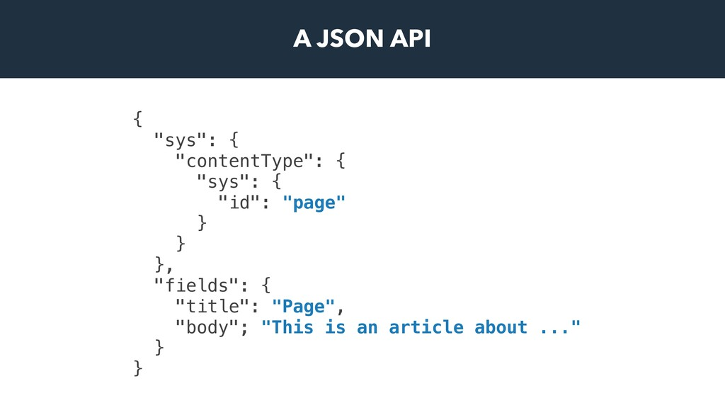 "A JSON API { ""sys"": { ""contentType"": { ""sys"": {..."