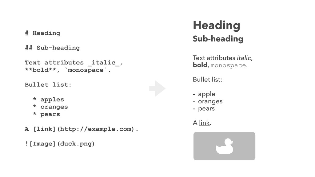 # Heading ## Sub-heading Text attributes _itali...