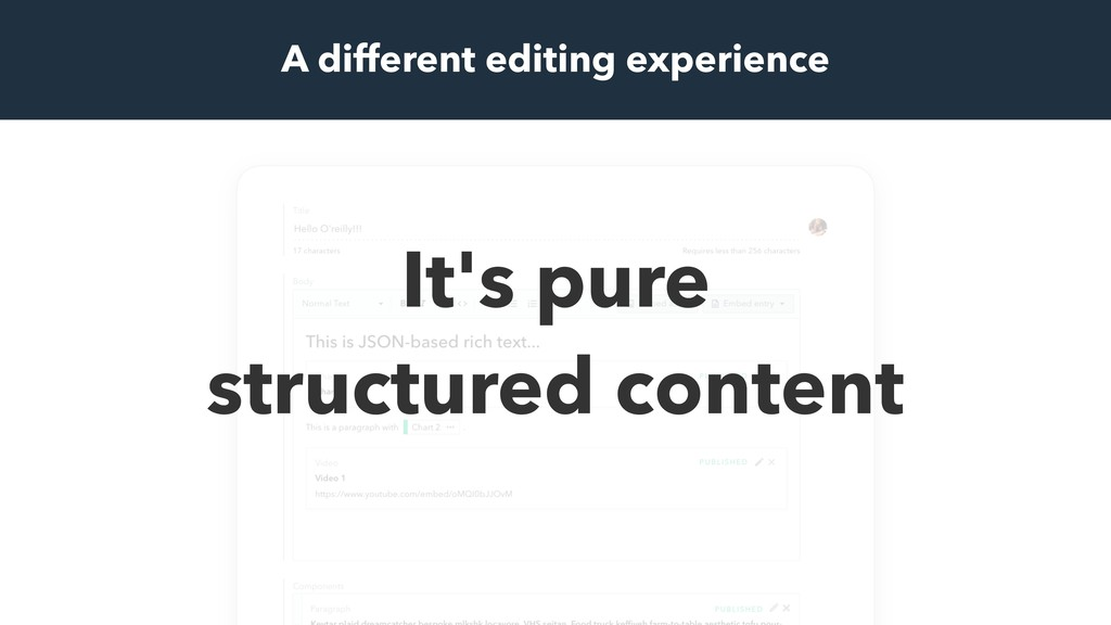 It's pure structured content A different editin...