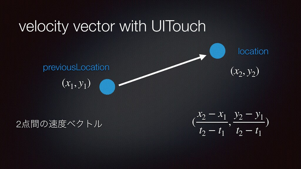 velocity vector with UITouch location previousL...