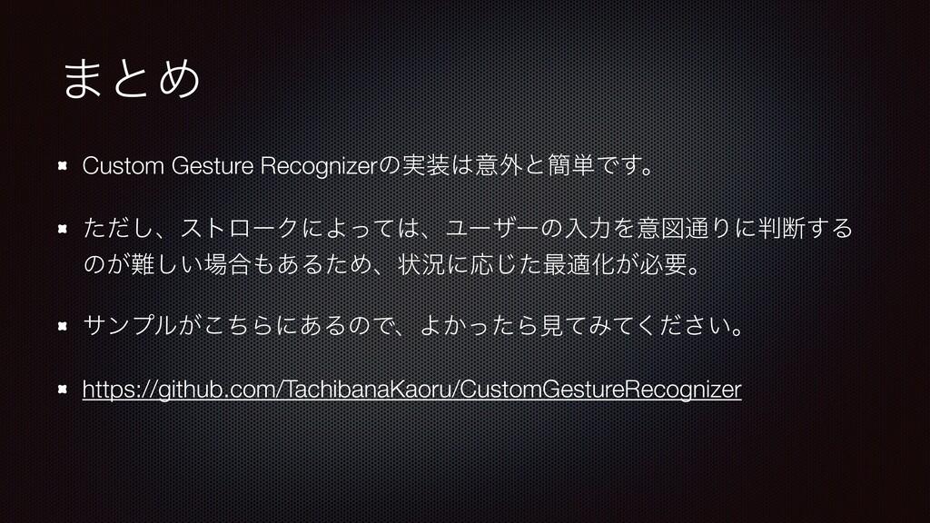 ·ͱΊ Custom Gesture Recognizerͷ࣮ҙ֎ͱ؆୯Ͱ͢ɻ ͨͩ͠ɺε...