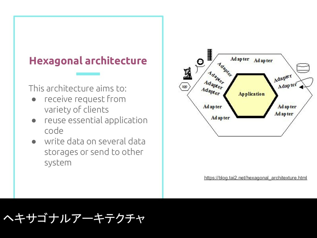 Hexagonal architecture This architecture aims t...