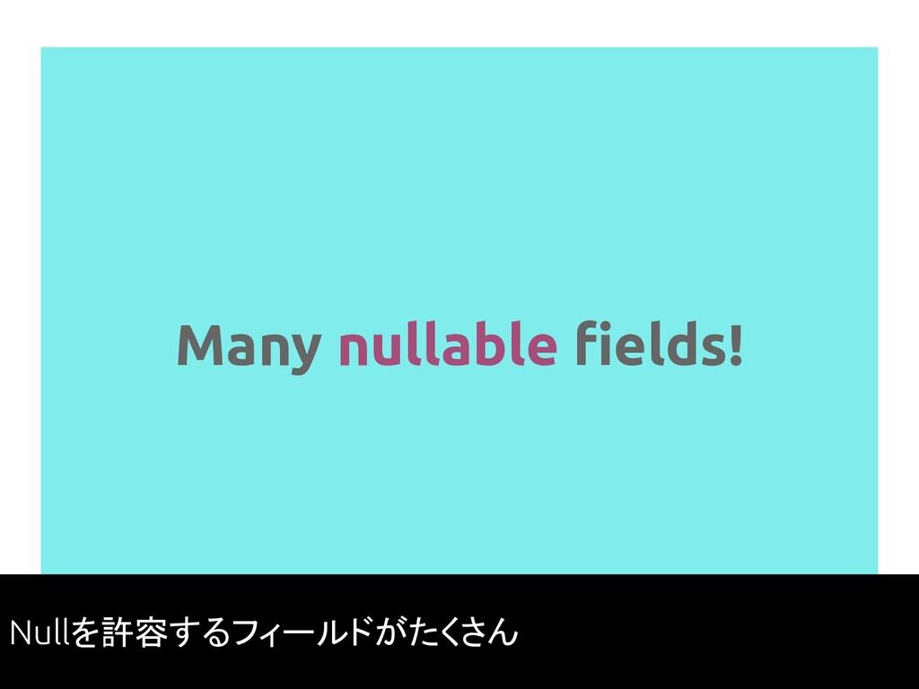 Many nullable fields! 58 Nullを許容するフィールドがたくさん