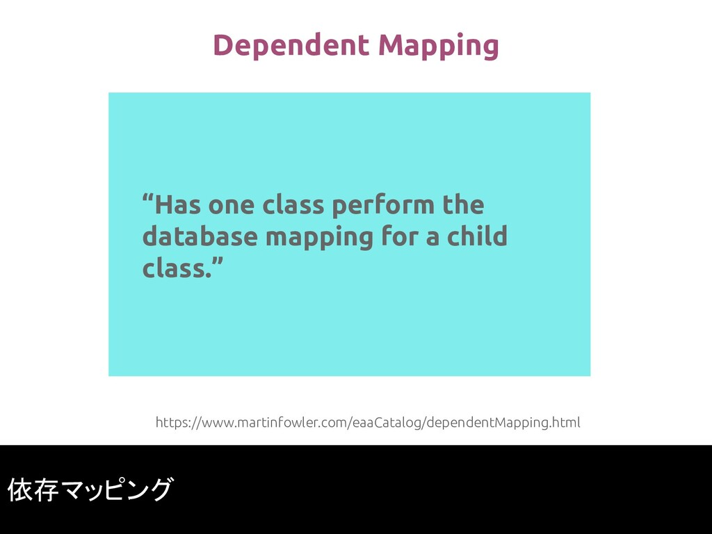 """Has one class perform the database mapping for..."
