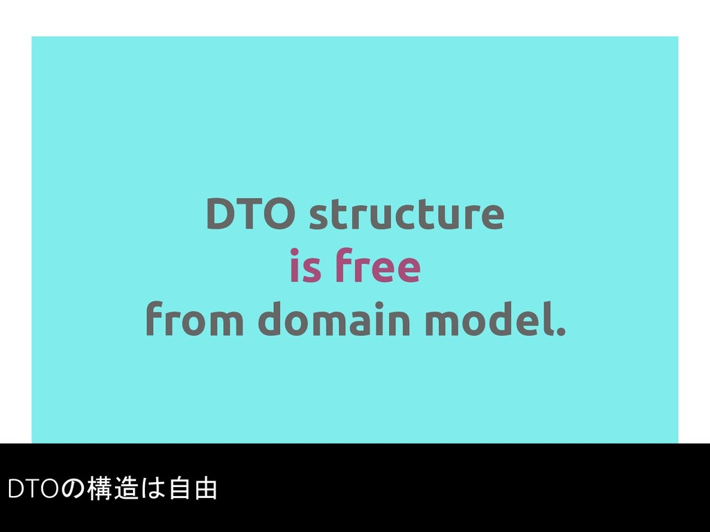 DTO structure is free from domain model. 83 DTO...