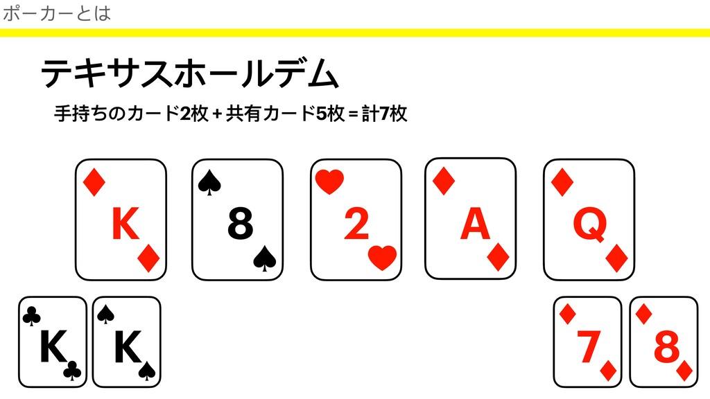 テキサスホールデム 7 8 K 8 2 A Q ポーカーとは K K ⼿持ちのカード2枚 + ...