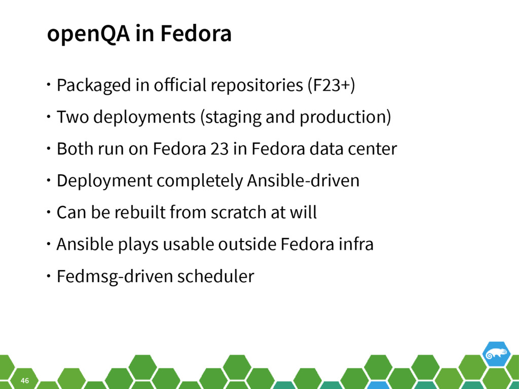 46 openQA in Fedora • Packaged in official repo...