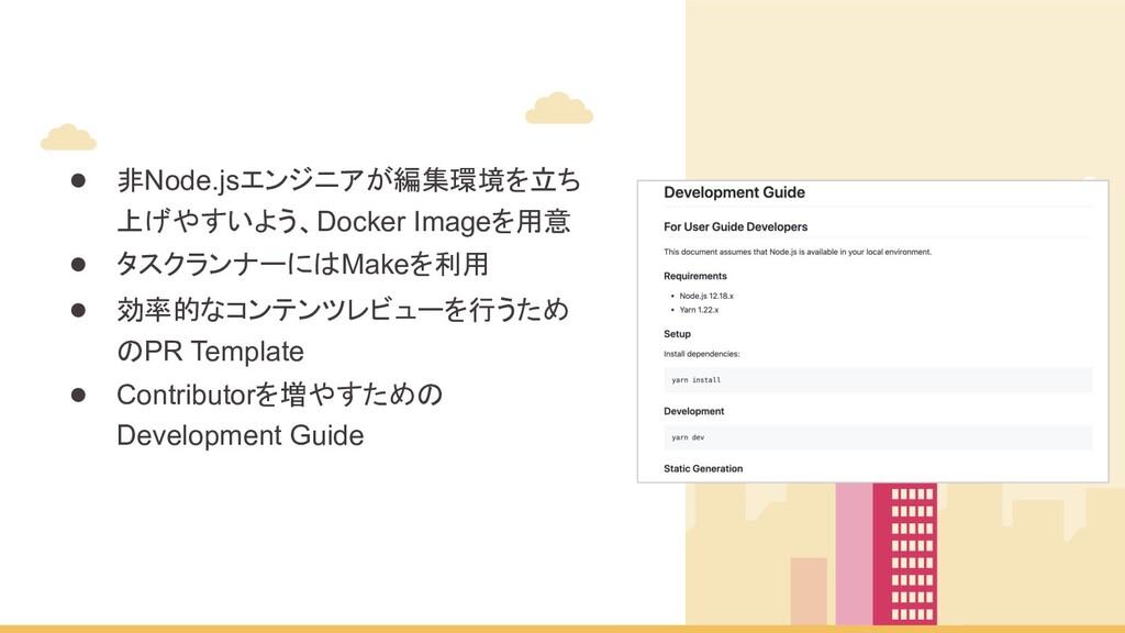 ● 非Node.jsエンジニアが編集環境を立ち 上げやすいよう、Docker Imageを用意...
