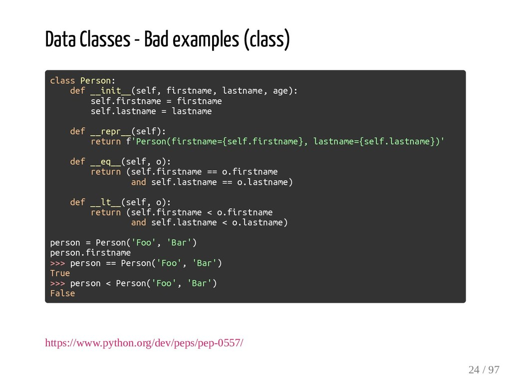 Data Classes - Bad examples (class) class Perso...