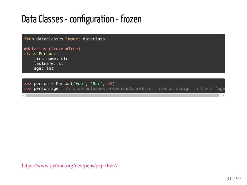 Data Classes - con guration - frozen from datac...