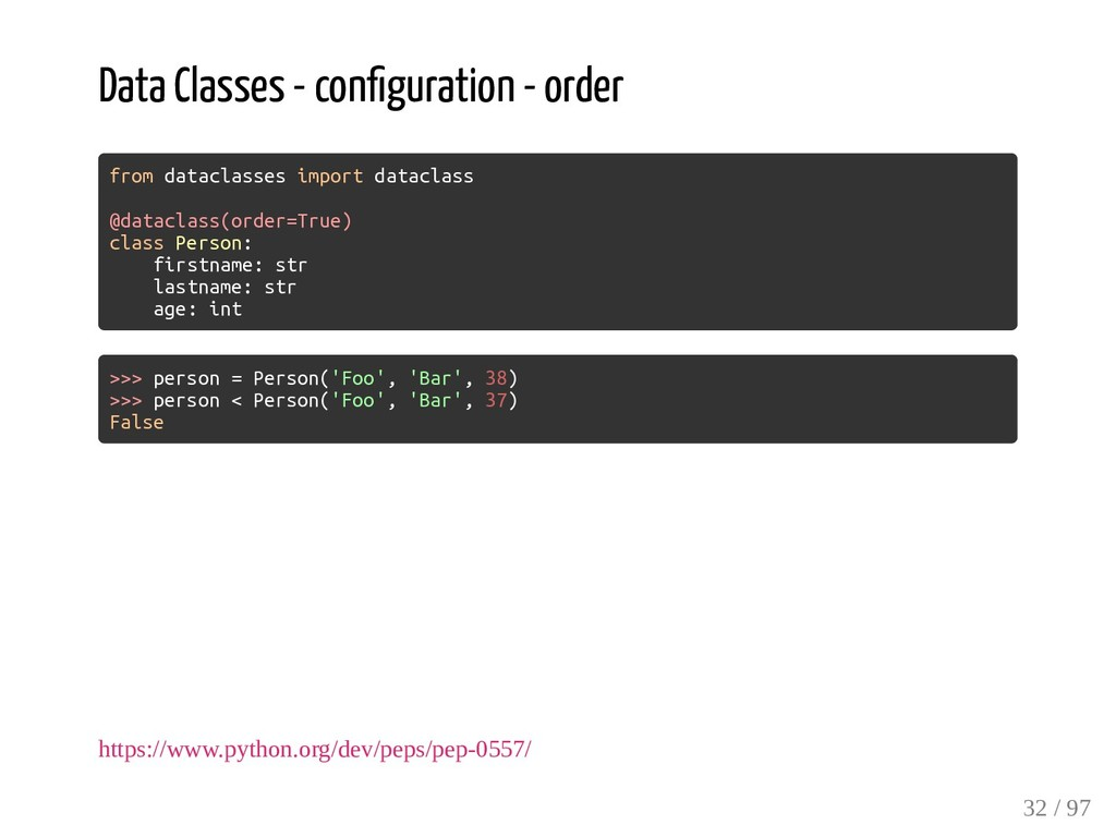 Data Classes - con guration - order from datacl...