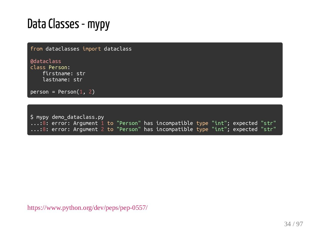 Data Classes - mypy from dataclasses import dat...