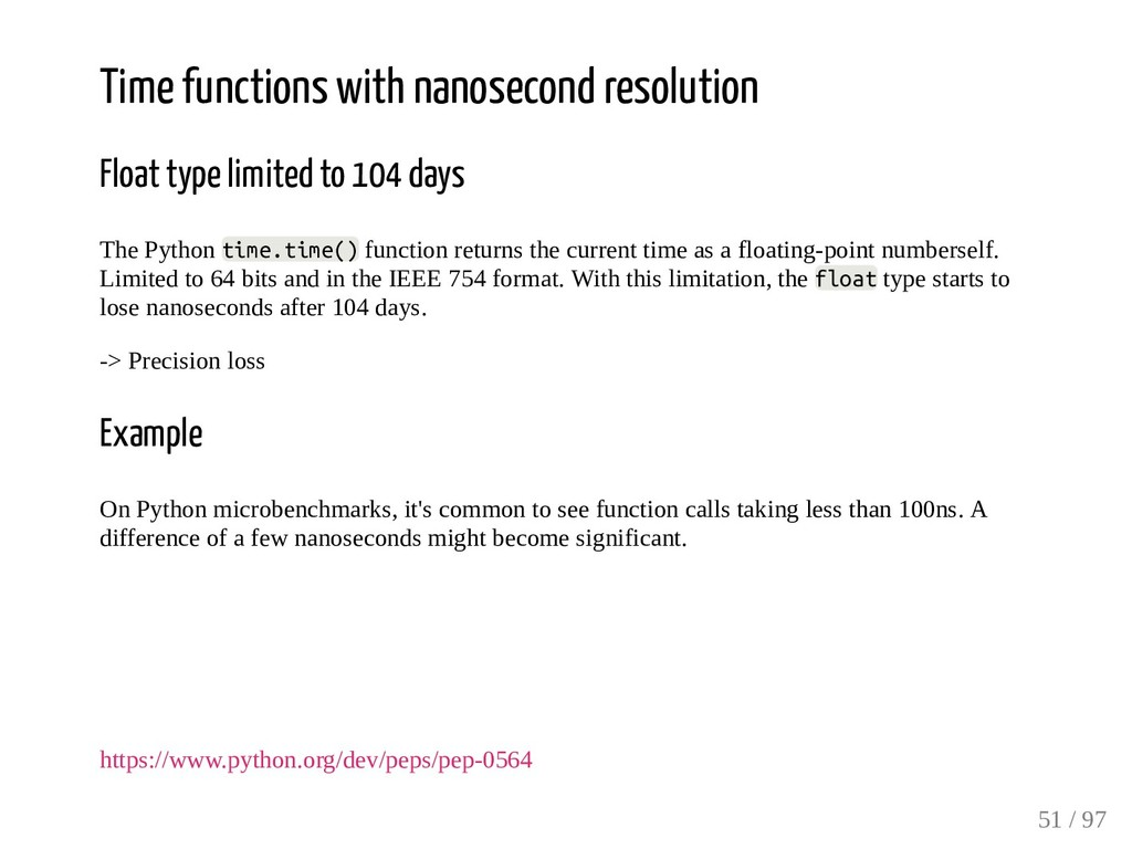 Time functions with nanosecond resolution Float...