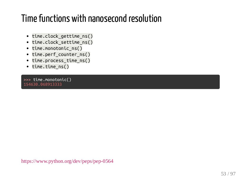 Time functions with nanosecond resolution time....