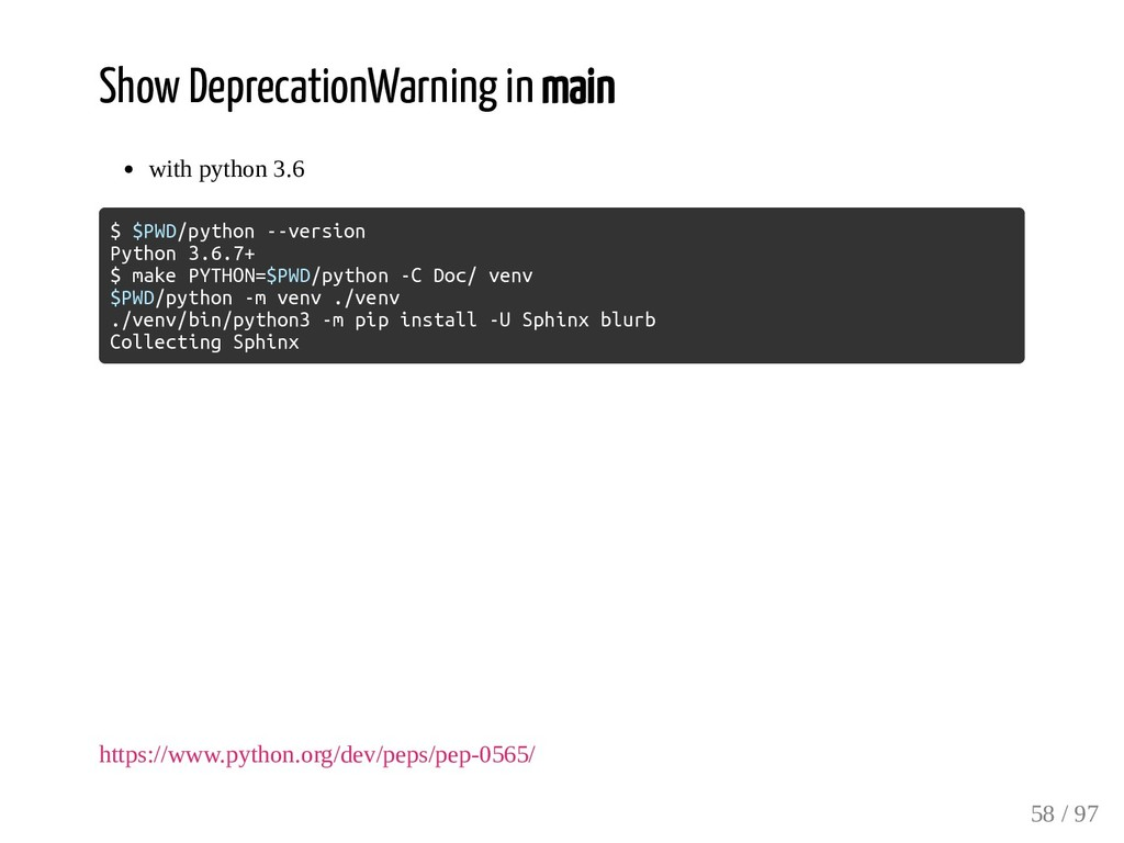 Show DeprecationWarning in main with python 3.6...