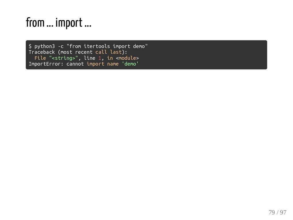 """from ... import ... $ python3 -c """"from itertool..."""