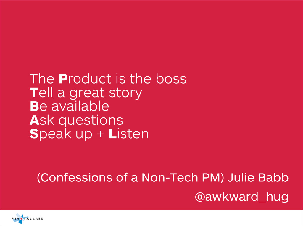 (Confessions of a Non-Tech PM) Julie Babb The P...