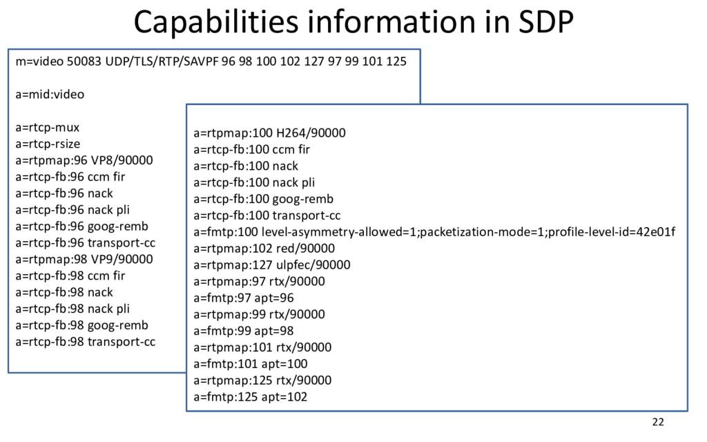 Capabilities information in SDP 22 m=video 5008...