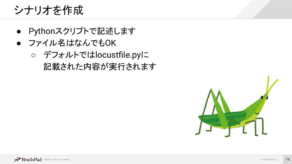 © BrainPad Inc. 15 ● Pythonスクリプトで記述します ● ファイル名は...