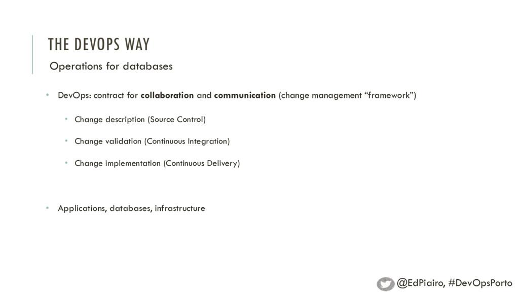 THE DEVOPS WAY Operations for databases • DevOp...