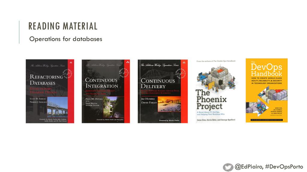 READING MATERIAL Operations for databases @EdPi...