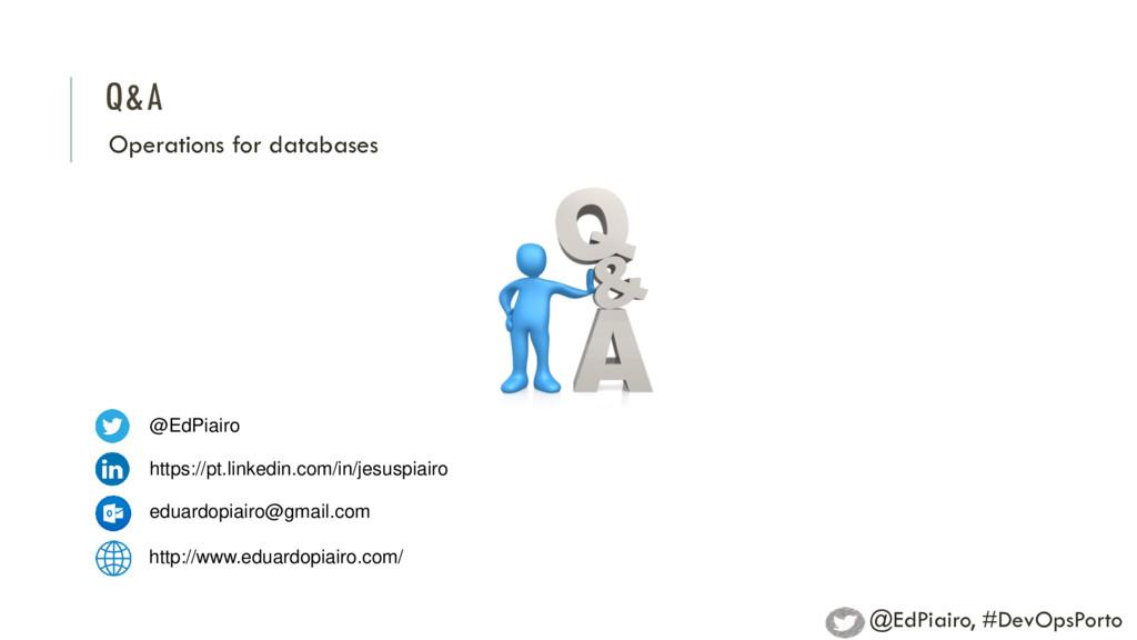 Q&A Operations for databases @EdPiairo https://...
