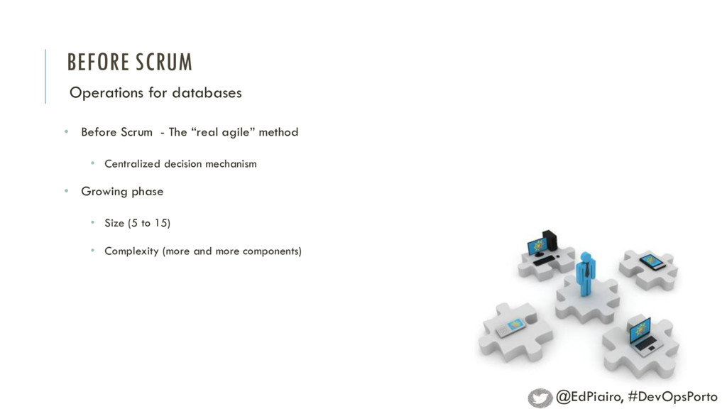BEFORE SCRUM Operations for databases • Before ...