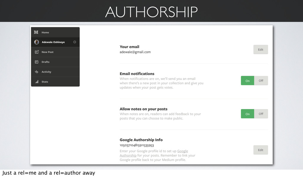 AUTHORSHIP Just a rel=me and a rel=author away