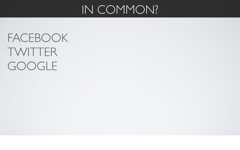 IN COMMON? FACEBOOK TWITTER GOOGLE