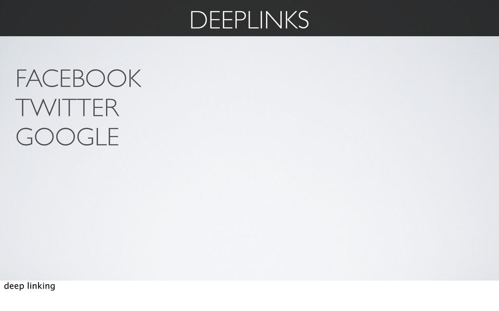 DEEPLINKS FACEBOOK TWITTER GOOGLE deep linking