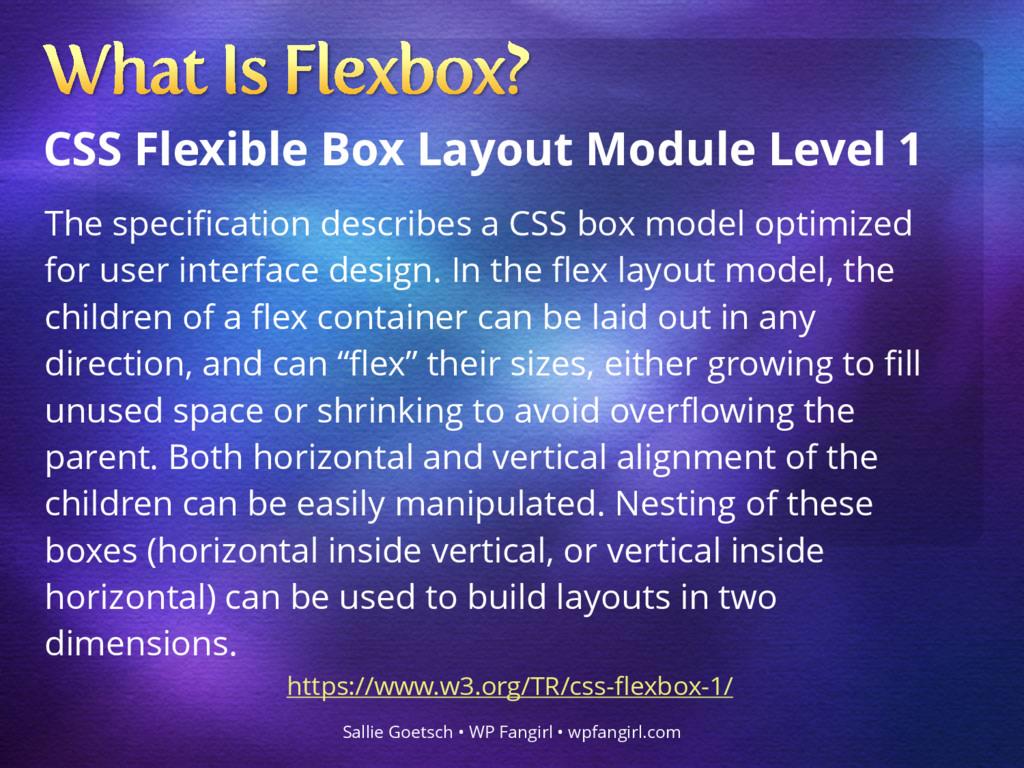 CSS Flexible Box Layout Module Level 1 Sallie G...