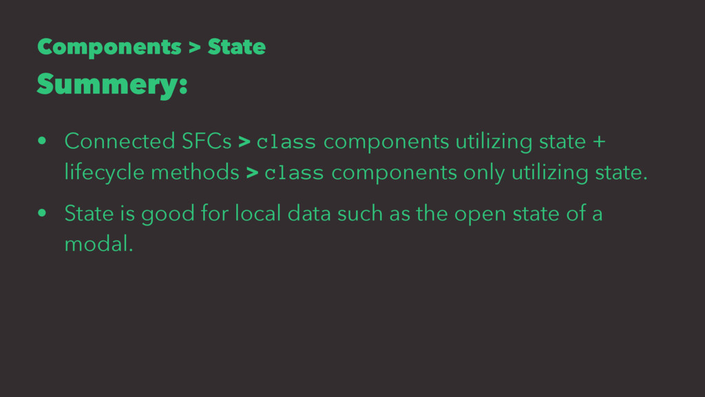 Components > State Summery: • Connected SFCs > ...