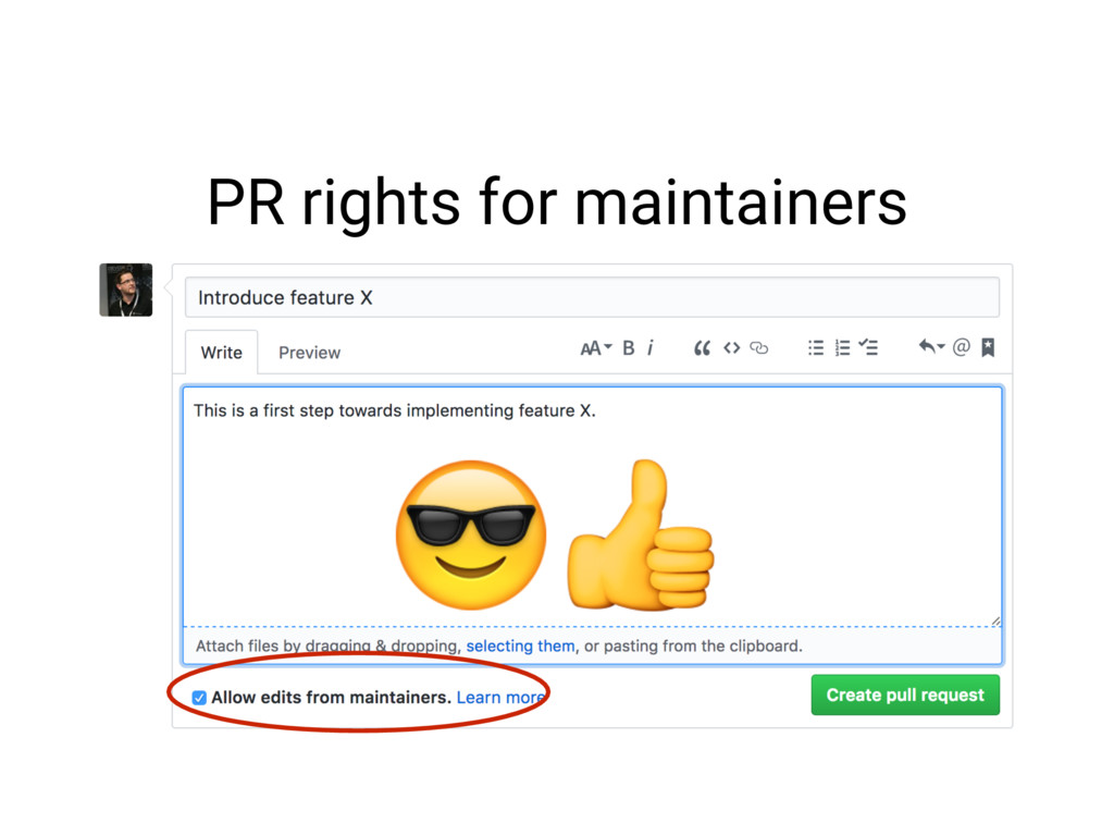 PR rights for maintainers