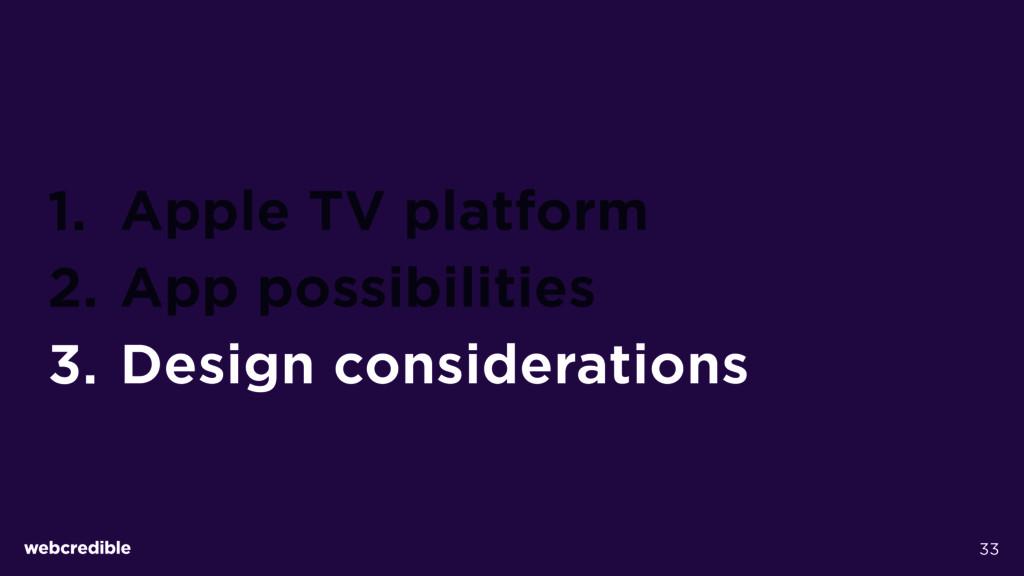 1. Apple TV platform 2. App possibilities 3. De...