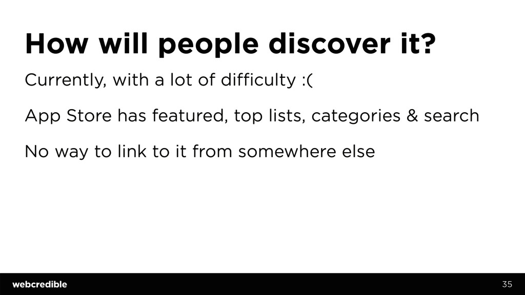 How will people discover it? Currently, with a ...