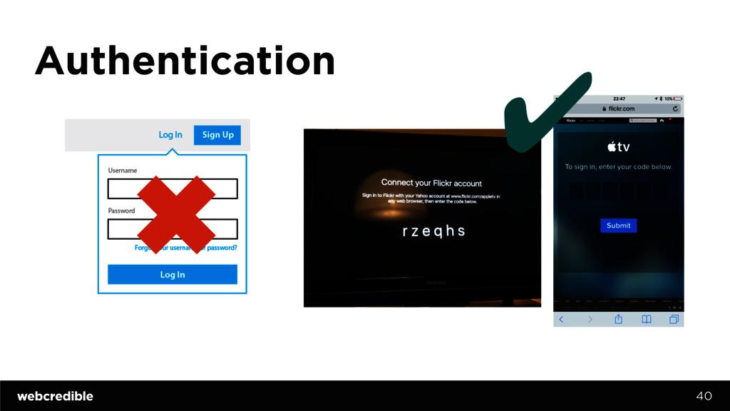 Authentication 40 ✖ ✔