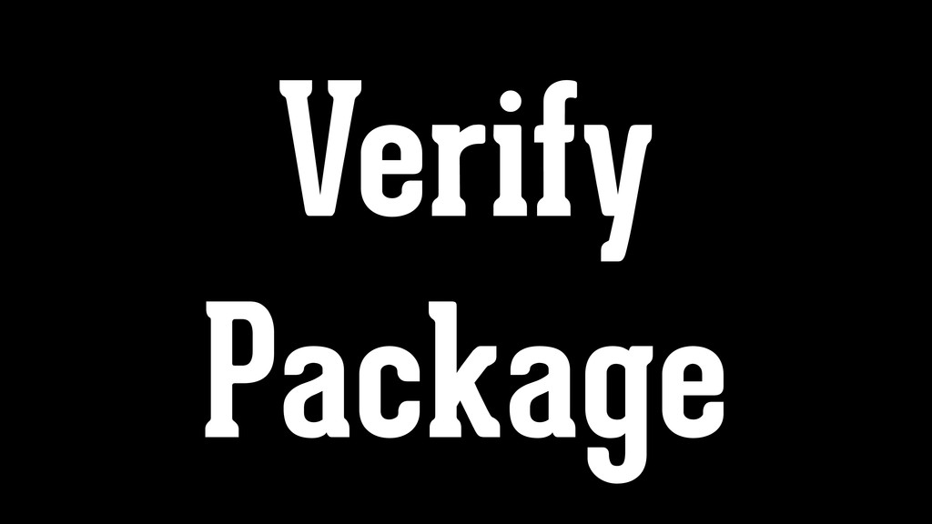 Verify Package