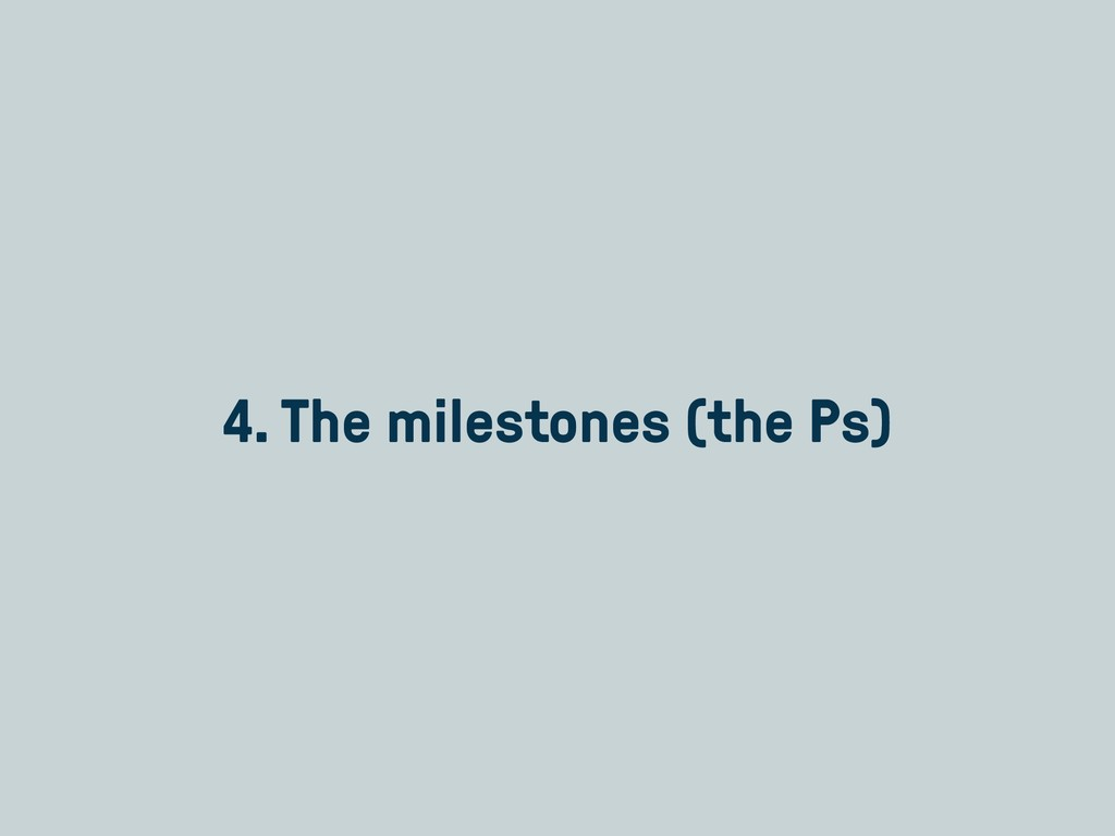 4. The milestones (the Ps)