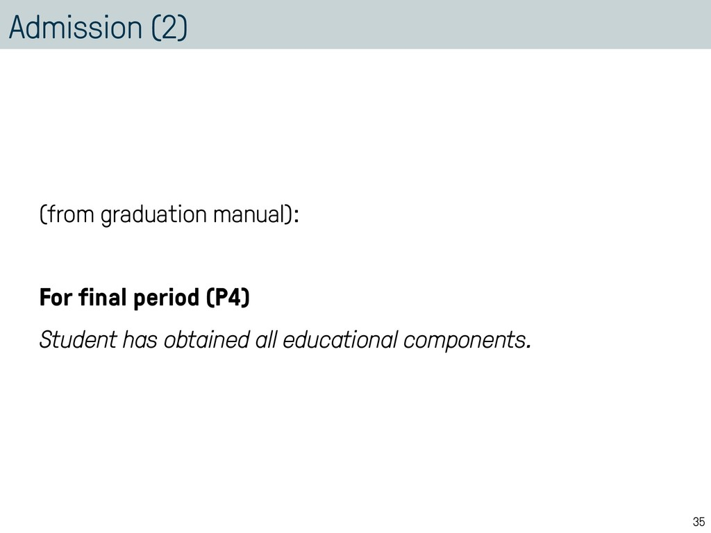 Admission (2) (from graduation manual): For fin...