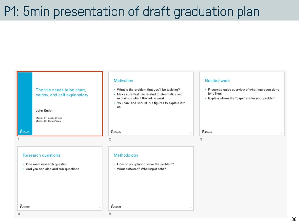 P1: 5min presentation of draft graduation plan ...